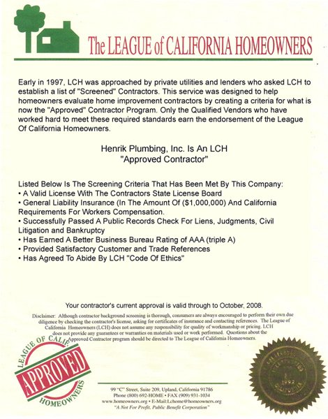 The league of california home owners document