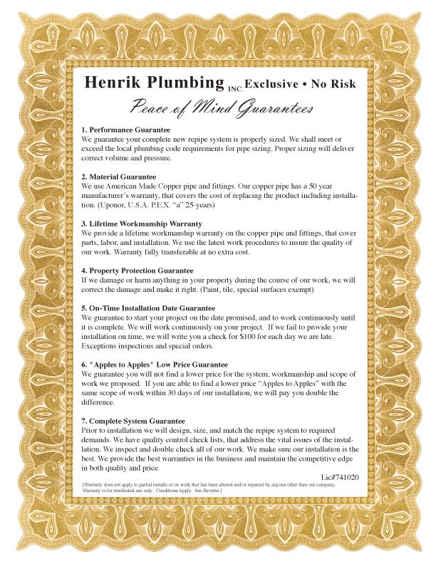 Henrik Plumbing's Guarantee: You'll Get a Master Plumber